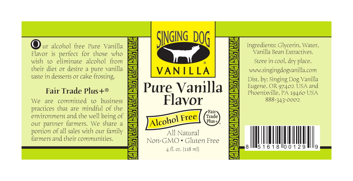 Label For Alcohol Free Pure Vanilla Flavor, 4 oz - Singing Dog Vanilla