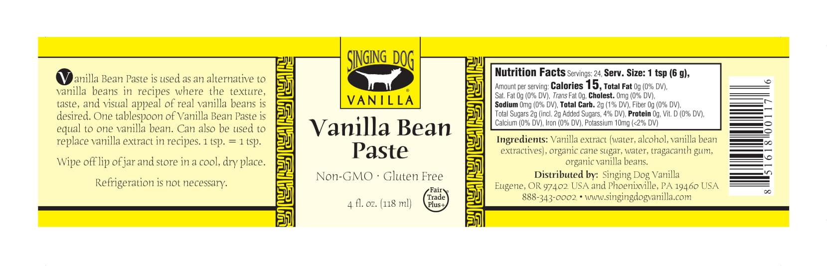 Label-for-Vanilla-Bean-Paste-4-oz - Singing Dog Vanilla
